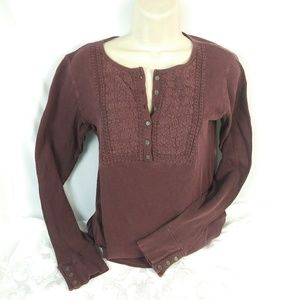 NWT Lucky Brand Long Sleeve Medium Burgundy